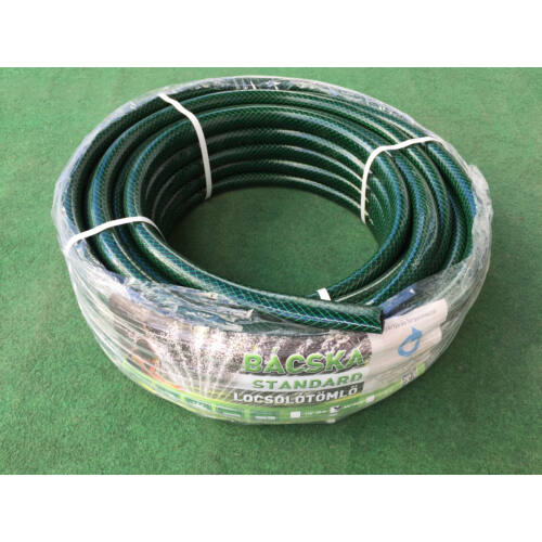 """Locsolótömlő, szövetes, standard kivitel, zöld külsővel (slag) (öntöző cső) 1""""-50 Fm."""